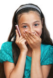 The girl is talking by phone Stock Photography