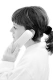 The girl talking by phone black and white Stock Photos