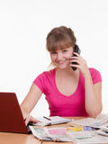 Girl talking on the phone with employer Royalty Free Stock Image