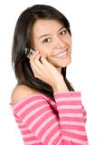 Girl talking on the phone in pink Royalty Free Stock Photography
