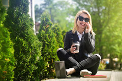 Girl talking on the phone Royalty Free Stock Photography