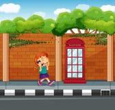 Girl talking on phone on the street. Illustration Stock Photo
