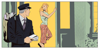 Girl talking with Postman. Stock illustration. Royalty Free Stock Photography
