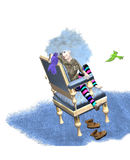 Girl talking to birds. A girl with blue big hair is talking to birds, sitting on a chair, over a white background, 3D illustration, raster illustration Royalty Free Stock Photography