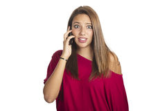 Girl talks by mobile phone Royalty Free Stock Photos