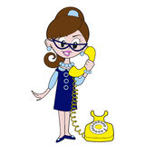 Girl Talks on the phone. Retro cartoon girl is talking on the phone Royalty Free Stock Photography