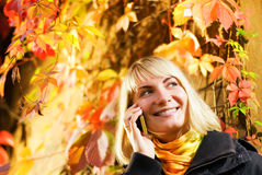 Girl talks on the phone. Happy girl talks on the phone, autumn background behind her Stock Image