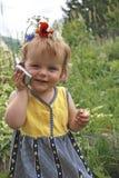 Girl talks telephone stock photo