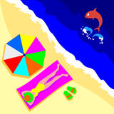 A girl is tan and a fish jumping into water. Illustration depicting a colorful beach umbrella, towel and slippers. A girl is tan and a fish jumping into water Stock Photography