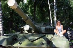 Girl on tank Royalty Free Stock Photos
