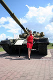 A girl and a tank Stock Photo