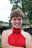 A girl and a tank 5 Royalty Free Stock Photography