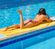 Girl tanning Royalty Free Stock Photo