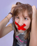 Girl with Tape Royalty Free Stock Image