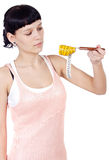 Girl with tape measure Stock Photo