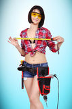 Girl with tape measure Stock Photos