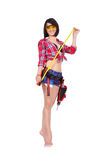 Girl with tape measure Royalty Free Stock Photography