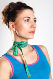 The girl with a tape on a neck. Portrait of the brunette with a tape on a neck Royalty Free Stock Image