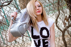Girl with tape recorder stock photography