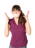 The girl with tape sealed her mouth Stock Photography