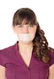 The girl with tape sealed her mouth Royalty Free Stock Images