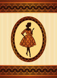 Girl on tapestry background. Royalty Free Stock Images