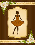 Girl on tapestry background. Royalty Free Stock Image
