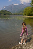 Girl at tarn Royalty Free Stock Photos