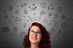 Girl with task of the days concept stock image
