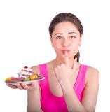 Girl tastes the sweetness of the dish Royalty Free Stock Images