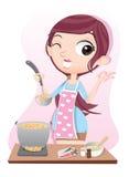 Girl tasting soup. Stock Photography