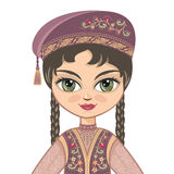 The girl in  Tatar dress. Historical clothes. Royalty Free Stock Images