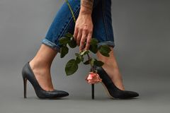 Pink flower in a girl`s hand with a tattoo . Young stylish girl in high-heeled shoes, and jeans on a dark background. Girl with a tattoo in jeans, and black stock photography