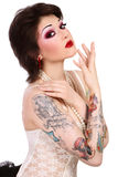 Girl with tattooes Stock Images