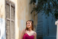 Girl taveling Europe for summer holiday. Royalty Free Stock Photos