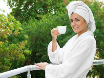 Girl with tea Royalty Free Stock Image