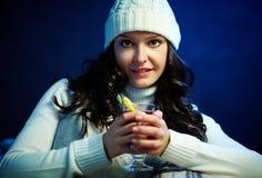 Girl with tea Stock Photo