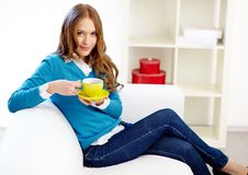 Girl with tea Royalty Free Stock Images