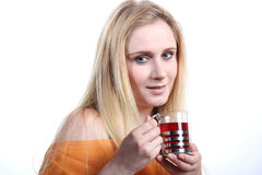 Girl with tea Stock Photos