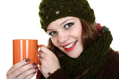 Girl and tea Stock Photos