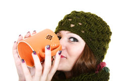 Girl and tea Stock Photo