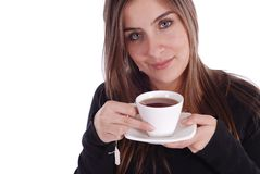 Girl with Tea. Beautiful woman holding tea cup and saucer on a white background Royalty Free Stock Photos