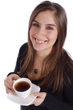 Girl with Tea. Beautiful woman holding tea cup and saucer on a white background Royalty Free Stock Images
