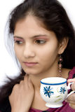 Girl with tea Stock Image