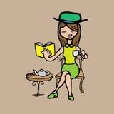 Girl tea break and book. Woman reads book tea break cartoon Stock Photos
