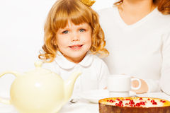 Girl with tea and cake portrait Royalty Free Stock Photos