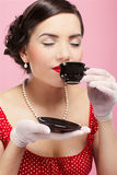 Girl with tea cup Stock Photo