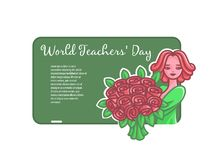 Girl teacher with flowers at a board for a chalk. stock illustration
