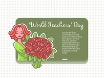 Girl teacher with flowers at a board for a chalk. royalty free illustration