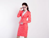 Girl teacher with glasses and a business suit Royalty Free Stock Photography